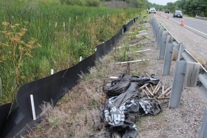 Replacing temporary geotextile wildlife exclusion fencing with permanent Animex fencing