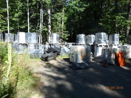 ACO panels stored in yard ready for installation